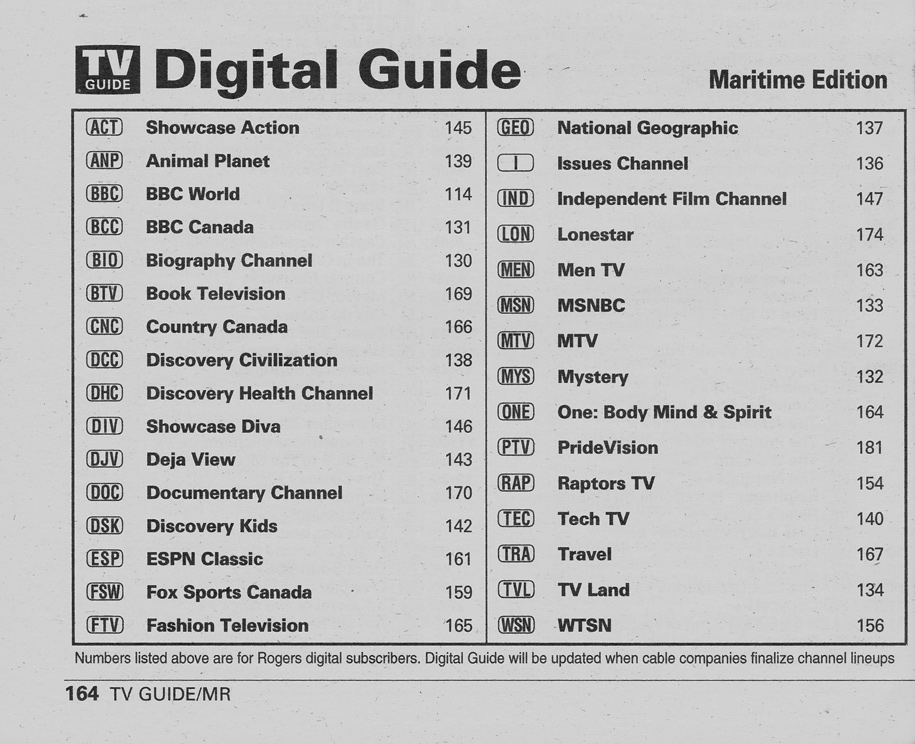 TV Guide August 24 2002 Maritime Edition Digital Guide