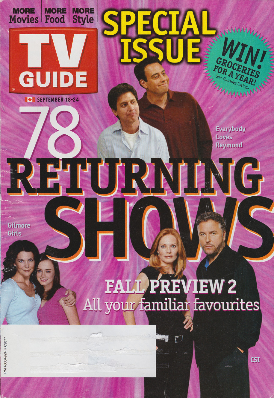 TV Guide September 18 2004 Manitoba Edition Front Cover