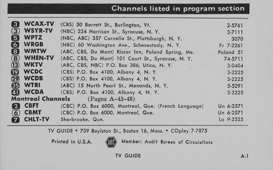 TV Guide March 16 1957 Hudson Valley Edition Channels Listed